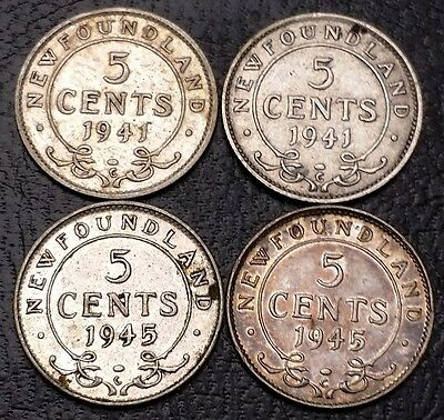 Lot of 4 Newfoundland 92.5% Silver 5 Cents Nickels - 1941c, 1941c, 1945c, 1945c