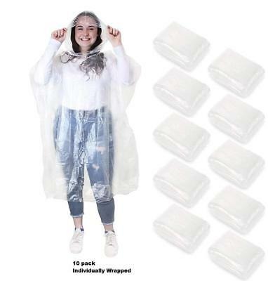 1//5//10pcs Emergency Waterproof Hooded Poncho Camping Disposable Raincoat NEW