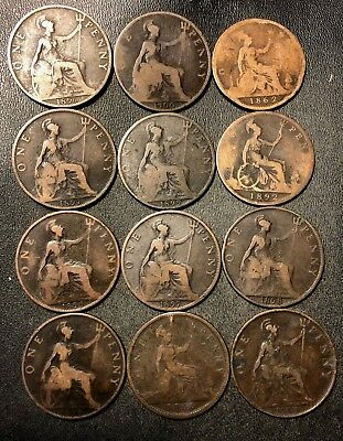 Vintage Great Britain Coin Lot - 12 Older Date Pennies - 1862-1900 -Lot #N9