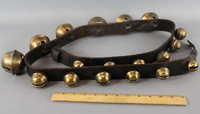 19thC Primitive Antique 18 Country Brass Sleigh Bells Leather & Belt Strap .. NR