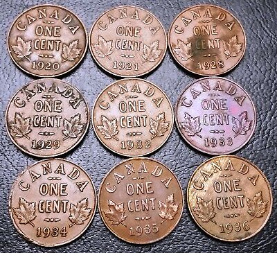 Lot of 9x Canada Small Cent Pennies - Dates: 1920 to 1936 - Great Condition