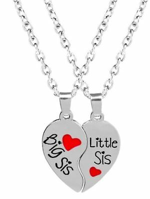 3f1c460546 New 2pc Big Little Sis Sister Necklace Matching Heart Friendship Best  Friend BFF