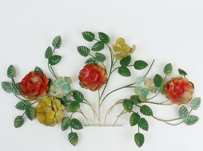 Vintage Tole Metal FLORAL WALL HANGING Decor Shabby Flowers