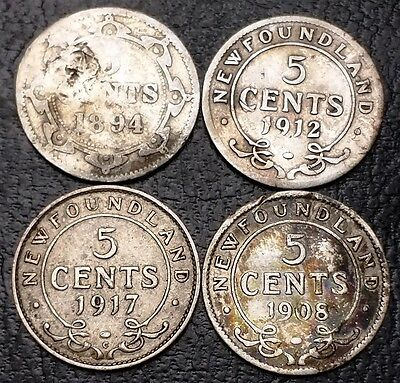 Lot of 4 Newfoundland 92.5% Silver 5 Cents Nickels - 1894, 1908, 1912, 1917c