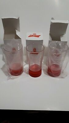 Budweiser Beer Glass Red Light Goal Plastis Tumber Set of 3