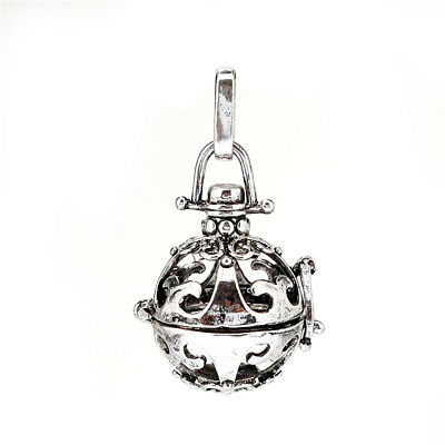 1PC Silver Alloy Ball Flower Hollow Beads Cage Locket Pendant B48