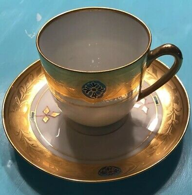 Updated Photo -Jul H Brauer Antique Demitasse tea cup and saucer with Heavy Gilt