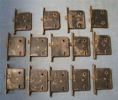 group of 14 vintage mortise door lock