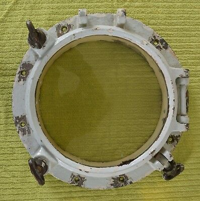 Antique or Vintage Genuine Painted Bronze or Brass Porthole 32lbs 15 1/2 inches