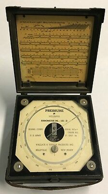 Original WWII US Army Barometer ML-102-D In Wooden Carry Case