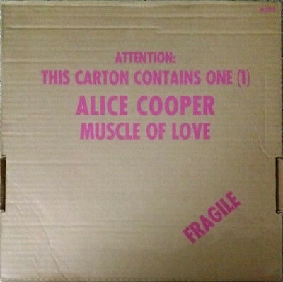 Alice Cooper Muscle Of Love DIE-CUT CARDBOARD CARTON, LABEL MISPRINT Vinyl LP
