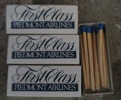 10 Boxes Of Piedmont Airlines Wooden Matches First Class Unused Very Good $4.99