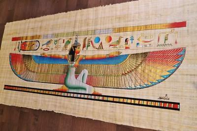"XXXL Huge Signed Handmade Papyrus Egyptian Queen_ISIS Painting 71""x 32"" inches"
