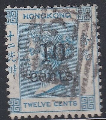 HONG KONG 1880 10c on 12c blue-super fresh colour-fu