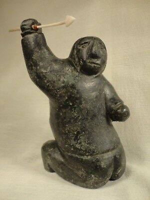 """Native Inuit Art Eskimo Carving Hunter 7"""" Tall Signed in Syllabics Antler Spear"""