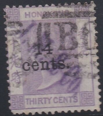HONG KONG 1891 14c on 30c mauve,JM&Co security chop-used