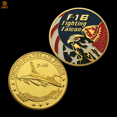 American F-16 Fighting US Air Force Military Fighter Gold Plated Challenge Coin