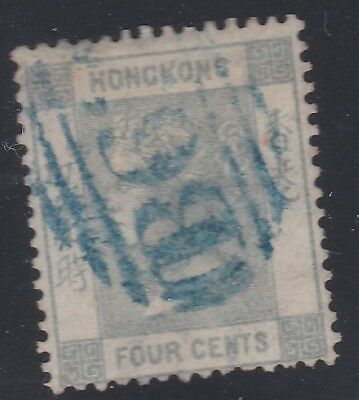 HONG KONG 1863-71 4c greenish grey,B62 in blue-nice!