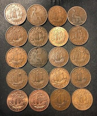 Vintage Great Britain Coin Lot - 20 Older 1/2 Pennies - 1861-1967 - Lot #N10