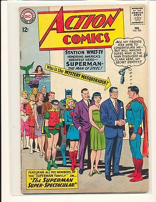 Action Comics # 309 - JFK appearance G/VG Cond. 2+ spine split slight water dmg