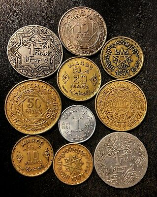 Old Morocco Coin Lot - 1921-1951 - 10 Vintage Islamic Coins - Lot #N10