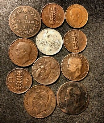 OLD ITALY COIN LOT - 1861-1934 - 11 Excellent Coins - Lot #N10