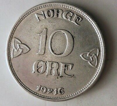 1916 NORWAY 10 ORE - Super Scarce - High Value Silver Coin - High Quality - N10
