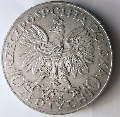 1933 POLAND 10 ZLOTYCH - KEY COIN - Massive Value Silver Crown Coin - Lot #N10