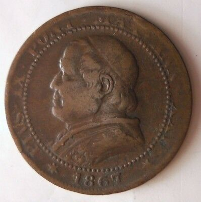1867 ITALIAN STATES (VATICAN) SOLDO - Low Mintage Rare Coin - Lot #N10