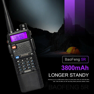 Baofeng UV-5R Radio Transceiver 3800mah Battery VH/UHF Walkie Talkie US Plug !