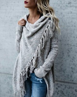 Ladies Womens Casual Knitted Tassel Asymmetric Oversized Cardigan Sweater