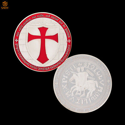 Temple Red Knight Crusader Cross Silver Plated Shield Commemorative Metal Coin