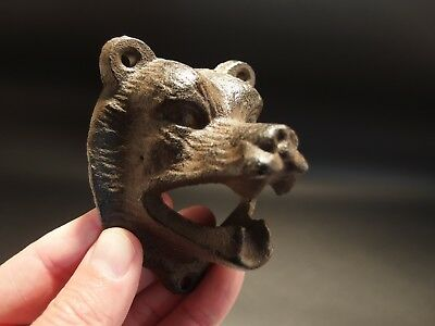 Antique Vintage Style Cast Iron Wall Mount Figural Bear Beer Bottle Opener