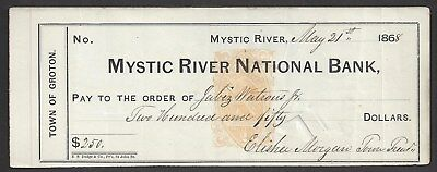 1868 Mystic River Connecticut Bank Check RN-B1