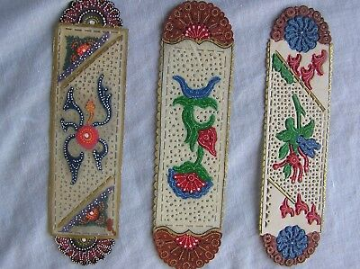 NOVELTY BOOKMARKS x 3 - DELICATE FILIGREE TYPE WORK - GFOOD CONDITION