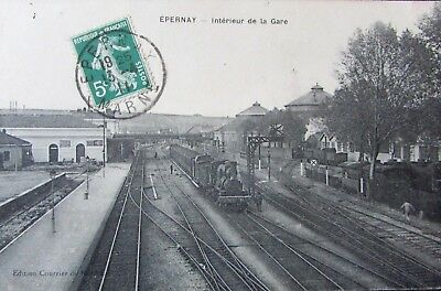 CPA Epernay ( Marne , 51 ) , Gare , 1911 TBE