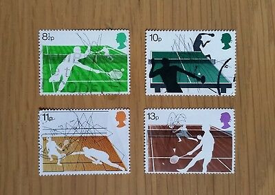 Complete GB used stamp set: 1977 Racket Sports