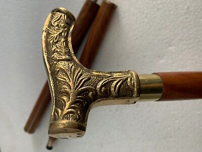 Antique Style Victorian Brass Head Handle Wooden Walking Stick Cane Vintage Gift
