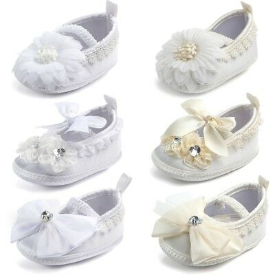 UK Baby Girl Satin Pram Shoes & Organza Lace Bow Christening Wedding White Beige