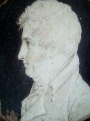 Portrait miniature, major Cambell dated 1804,black acorn frame, writing to back