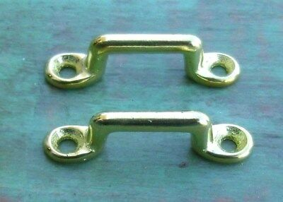 "Lot of 2 Footman Loop Solid Brass 3/4"" Strap - 2"" long Civil WarMcClellan Saddle"