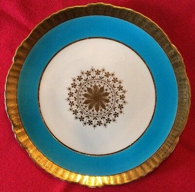 ANTIQUE MINTON Gold Encrusted Turquoise  Plate