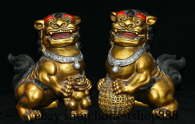 "9"" Old Chinese Bronze Gilt Feng shui Foo Fu Dog Guardion Lion Lucky Statue Pair"