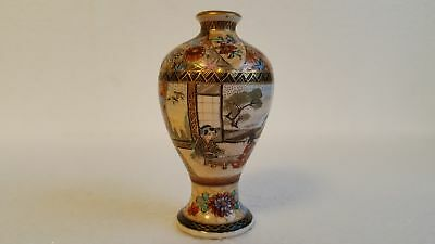 "Fine Meiji Period Japanese Satsuma Miniature Vase; Signed 3 1/2"" Tall"