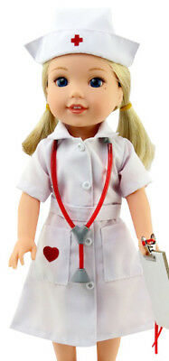 "Old School Style Nurse Outfit for 14.5"" American Girl WELLIE WISHER Doll"