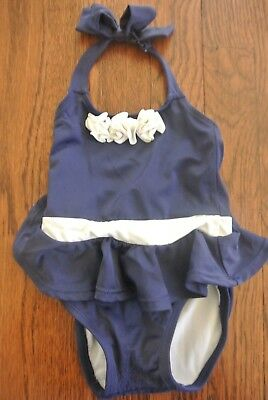 Gymboree Girl's Toddler Baby Switsuit Bathing Suit Navy White 6-12M 6 9 12 Month