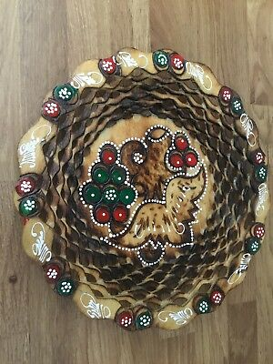 """Wooden Crafted Bulgarian Fruit Bowl/dish Used Approx 9"""" Across"""