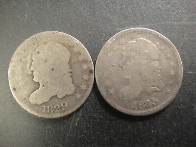 Pair (2) 1829 & 1835 United States Silver Capped Bust Half Dimes. A/Good & Good.