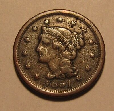 1851 Braided Hair Large Cent Penny - Extra Fine Details / Corroded - 9SA
