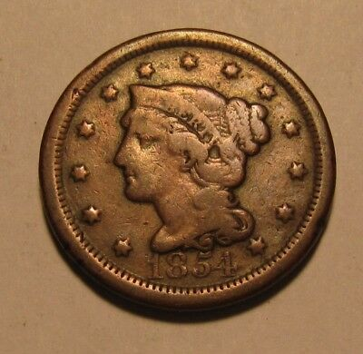1854 Braided Hair Large Cent Penny - Circulated Condition - 11SA